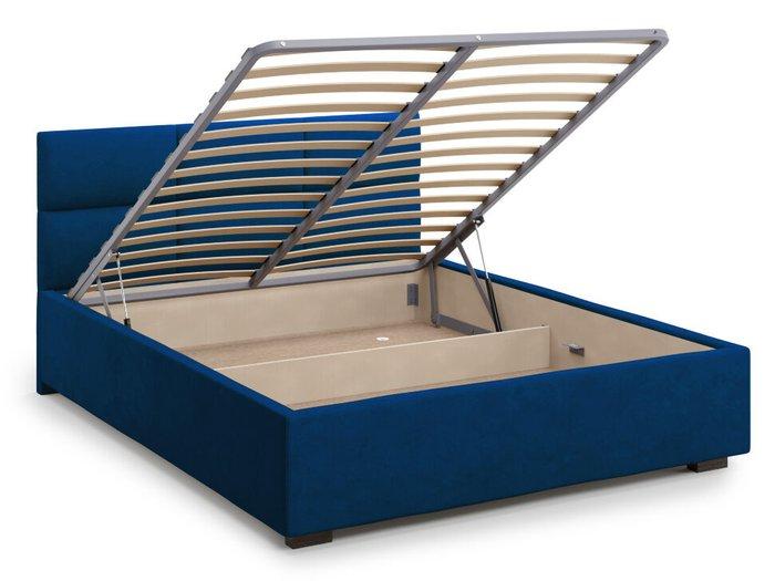 Кровать Bolsena 160х200 синего цвета с подъемным механизмом