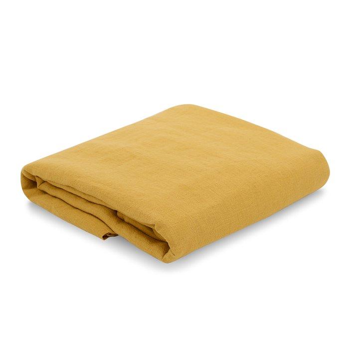 Простыня на резинке из льна горчичного цвета Essential 180х200
