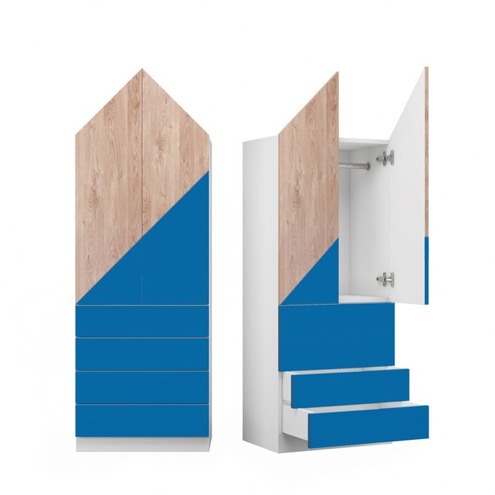 Шкаф Норвежский лес L с фасадом сине-коричневого цвета