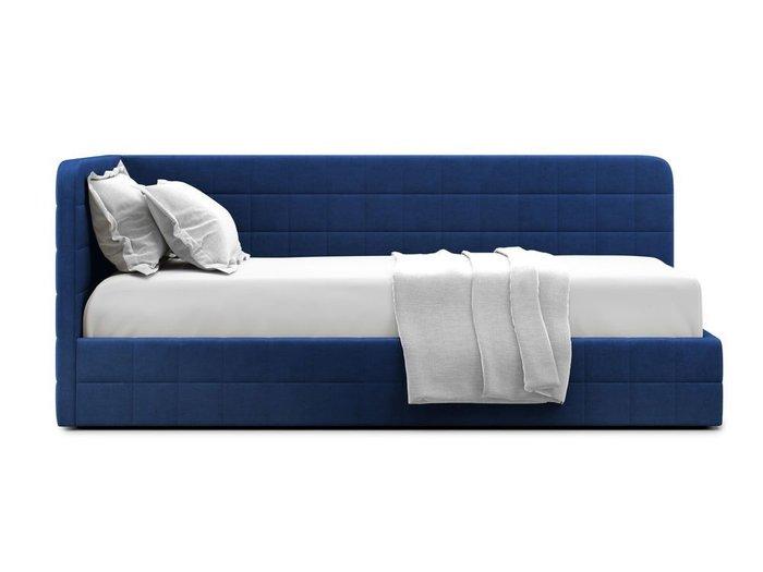 Кровать с подъемным механизмом Tichina left 90х200 синего цвета