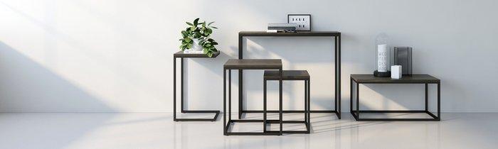 Приставной столик Бервин серого цвета