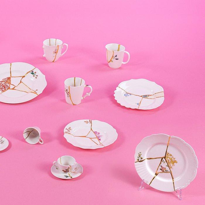 Тарелка Kintsugi белого цвета