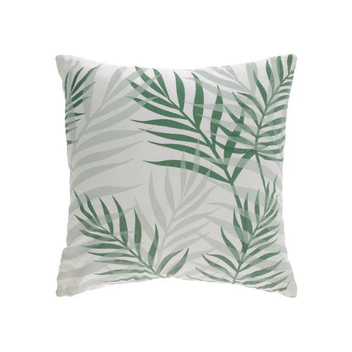 Чехол для подушки Amorela из хлопка с зелеными листьями 45x45