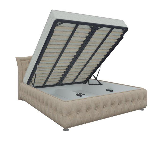 Кровать Герда 160х200 бежевого цвета с подъемным механизмом