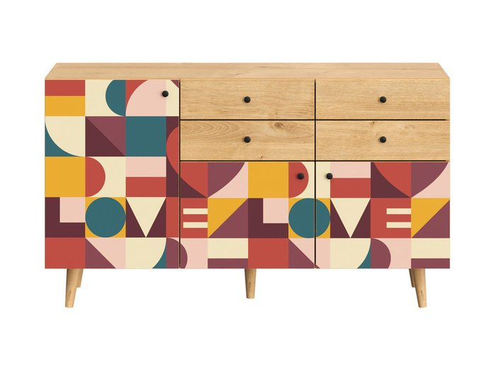 Сервант Frida с разноцветными дверцами на деревянных ножках