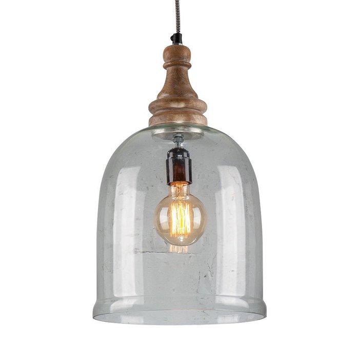Светильник подвесной из стекла и дерева