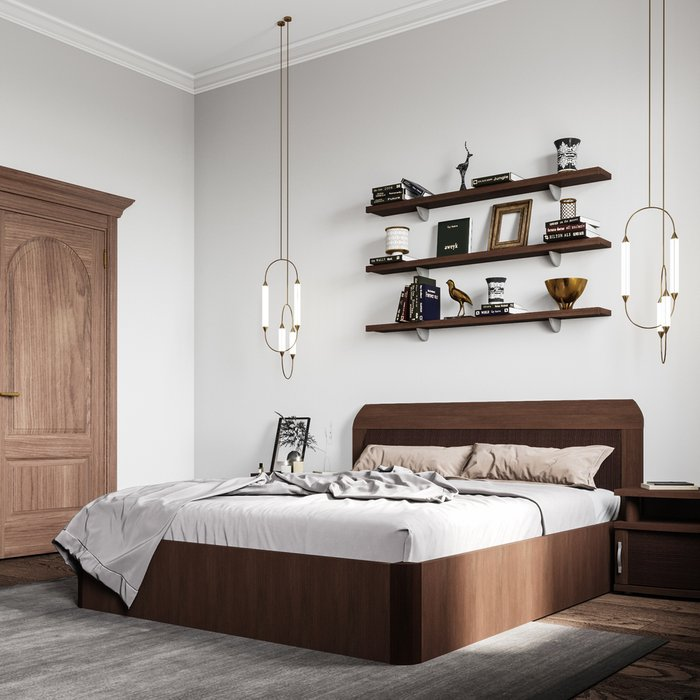 Кровать Магна 180х200 темно-коричневого цвета с подъемным механизмом