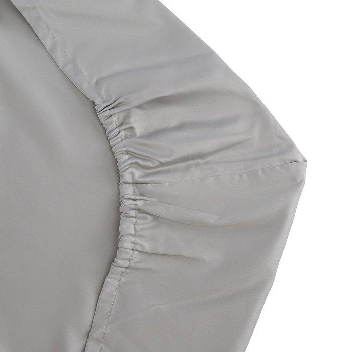 Простыня на резинке из сатина светло-серого цвета 80х160х20