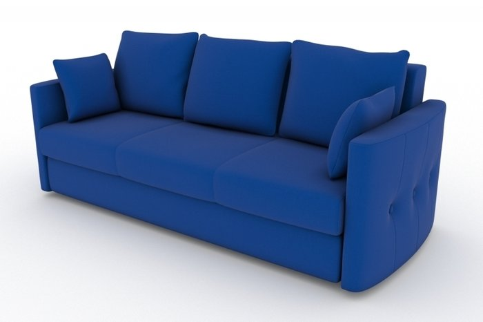 Прямой диван-кровать Луна синего цвета