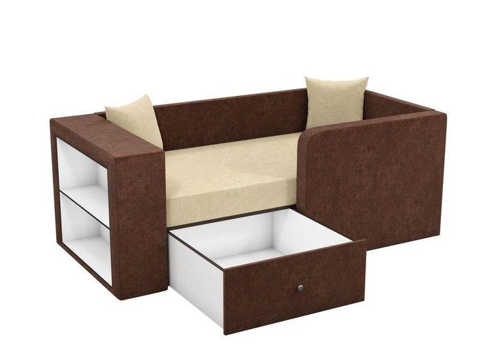 Детская кровать-диван Орнелла бежево-коричневого цвета
