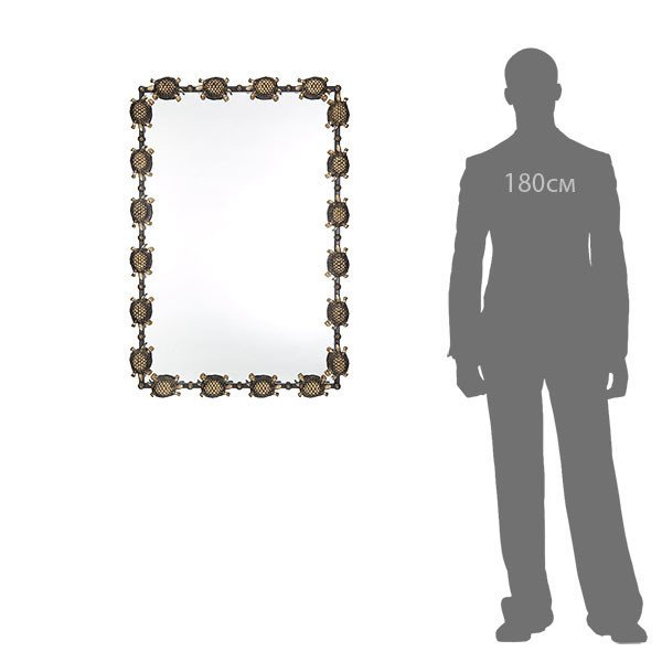 Зеркало настенное Черепахи черно-золотого цвета