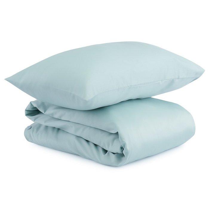 Комплект постельного белья из сатина голубого цвета 110х140