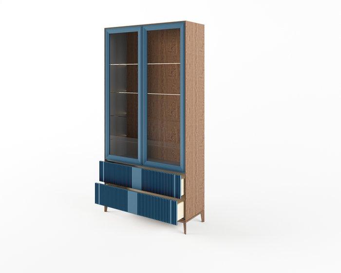 Шкаф-витрина The One Wave с фасадом серо-синего цвета