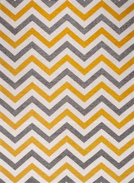 Ковер Line Lokky серо-желтого цвета 135х200