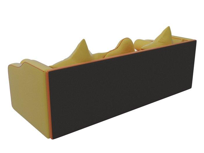 Прямой диван-кровать Рико желто-оранжевого цвета (экокожа)