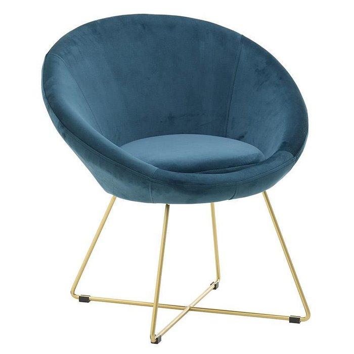 Кресло синее на металлических ножках