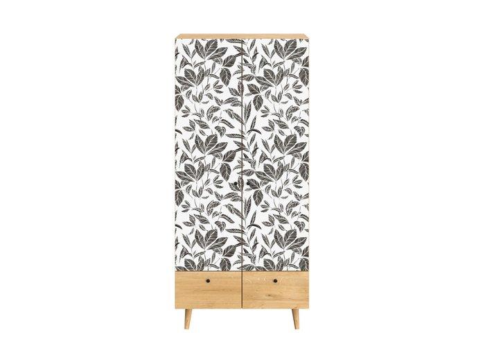 Шкаф Frida с черно-белым фасадом на деревянных ножках