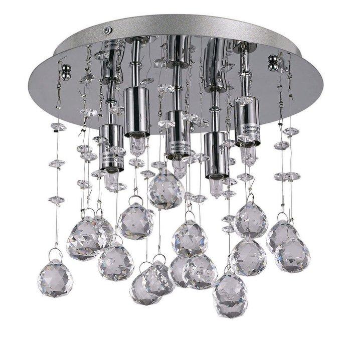 Потолочный светильник Ideal Lux Moonlight Cromo с подвесками из хрусталя