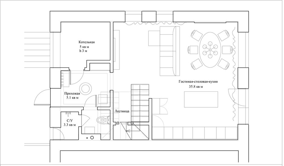 План с расстановкой мебели, 1-й этаж