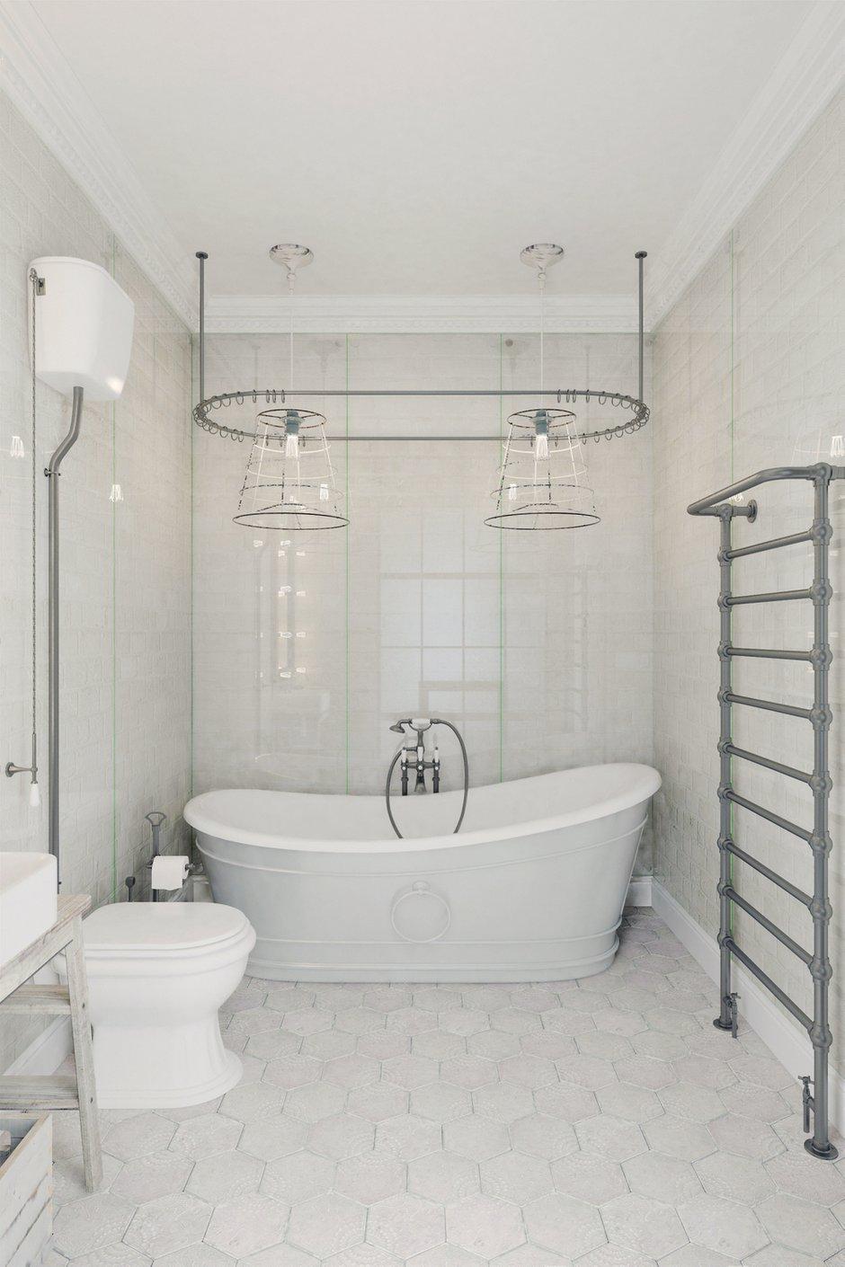 Фотография: Ванная в стиле Лофт, Квартира, Цвет в интерьере, Дома и квартиры, Белый – фото на INMYROOM
