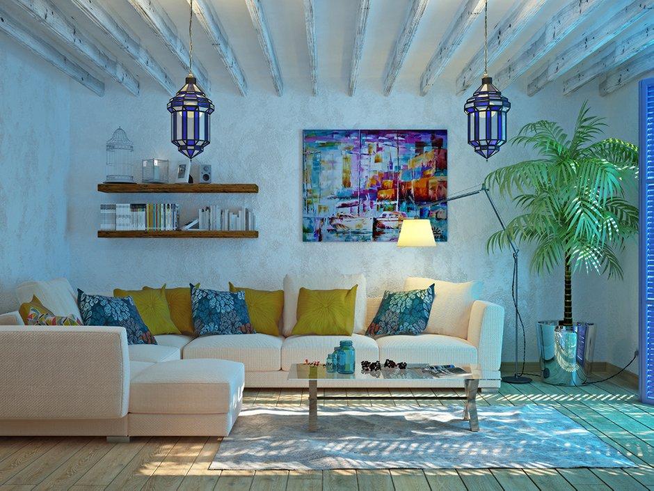 Фотография: Гостиная в стиле Восточный, Эклектика, Декор интерьера, Дом, Декор, Цвет в интерьере, Дома и квартиры, Средиземноморский, Греция – фото на INMYROOM