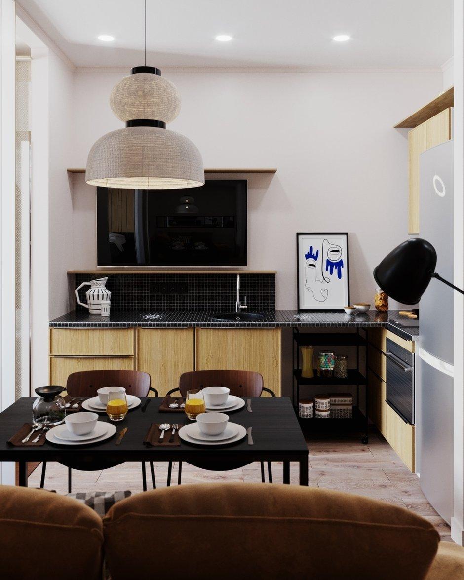 Фотография: Кухня и столовая в стиле Современный, Малогабаритная квартира, Квартира, Студия, Проект недели, Москва, Виктория Золина, Zi-Design Interiors, Монолитный дом, 1 комната, до 40 метров – фото на INMYROOM