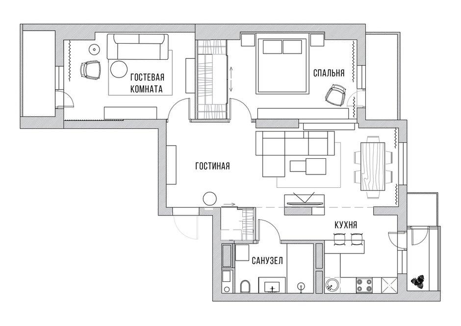 Фотография: Планировки в стиле , Современный, Квартира, Проект недели, Киев, Boho Studio, 3 комнаты, 60-90 метров – фото на INMYROOM
