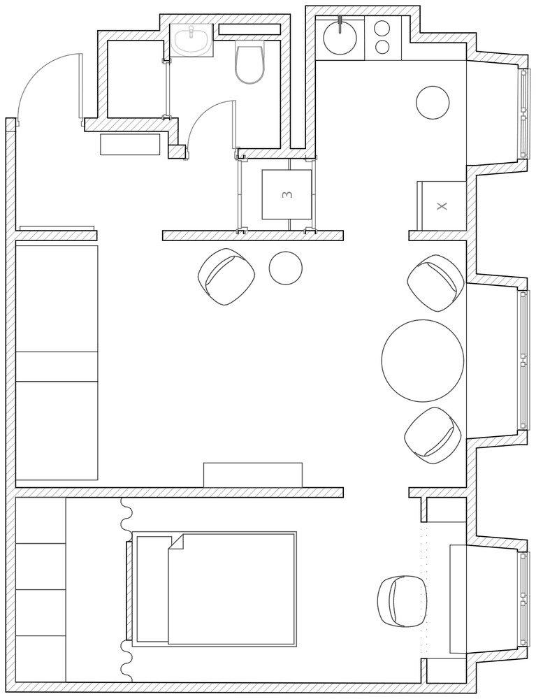 Фотография: Планировки в стиле , Квартира, Проект недели, 2 комнаты, до 40 метров – фото на INMYROOM