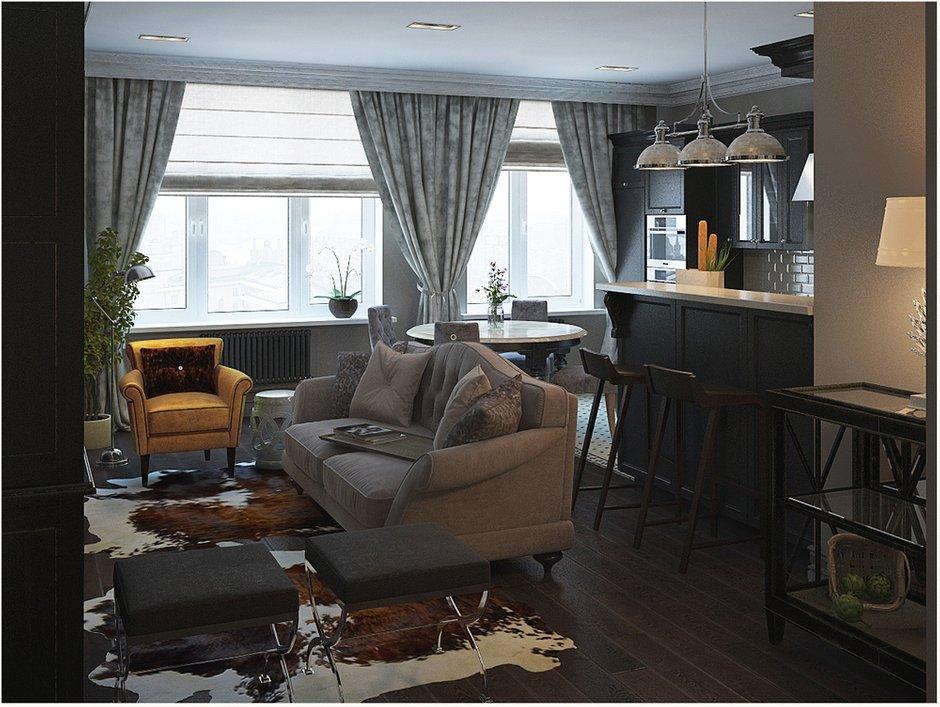 Фотография: Гостиная в стиле Прованс и Кантри, Скандинавский, Квартира, Цвет в интерьере, Дома и квартиры, Проект недели, Серый – фото на INMYROOM