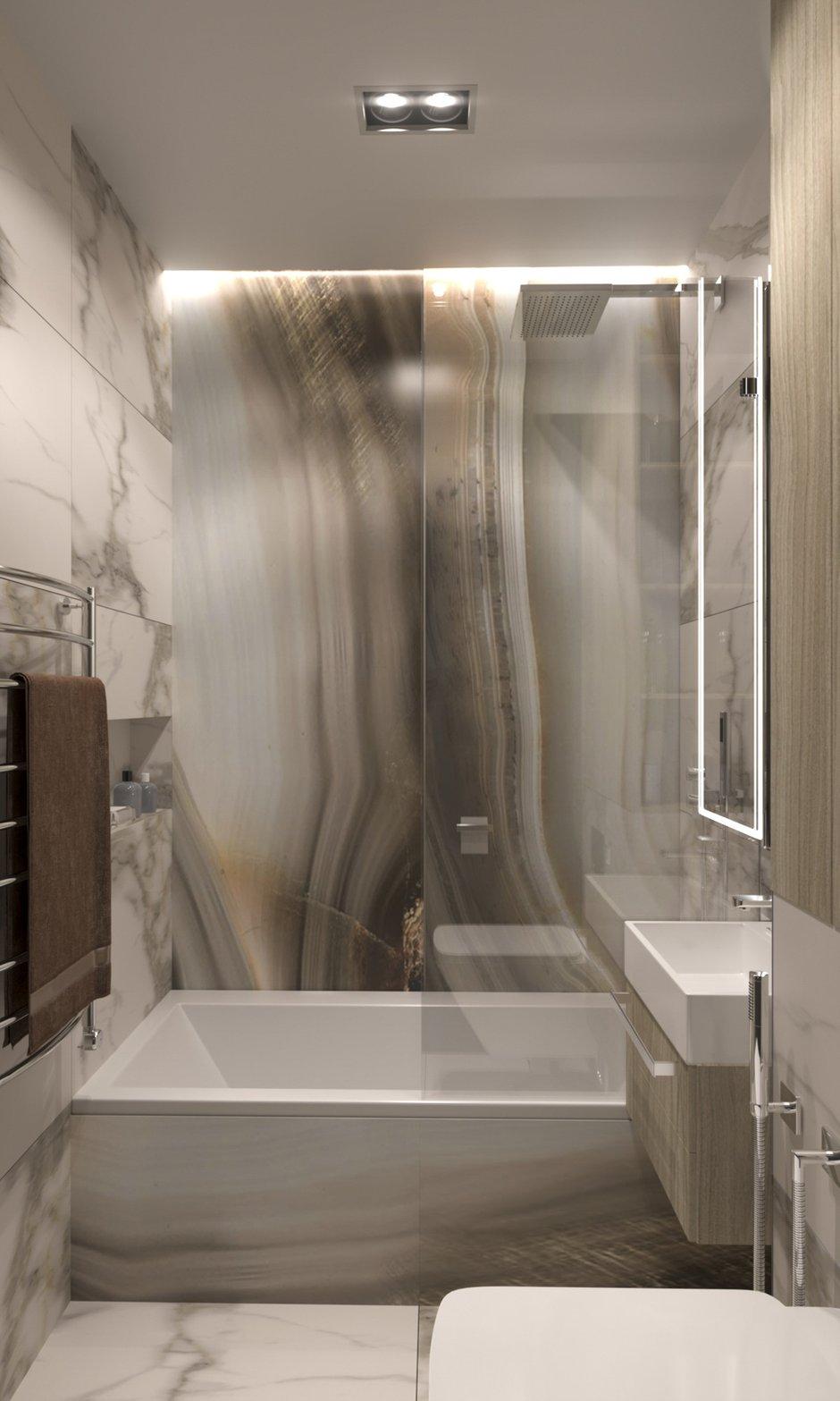 Фотография: Ванная в стиле Современный, Кухня и столовая, Гостиная, Спальня, Квартира, Проект недели, Бежевый, Серый, Коричневый, 3 комнаты, 60-90 метров, ПРЕМИЯ INMYROOM – фото на INMYROOM