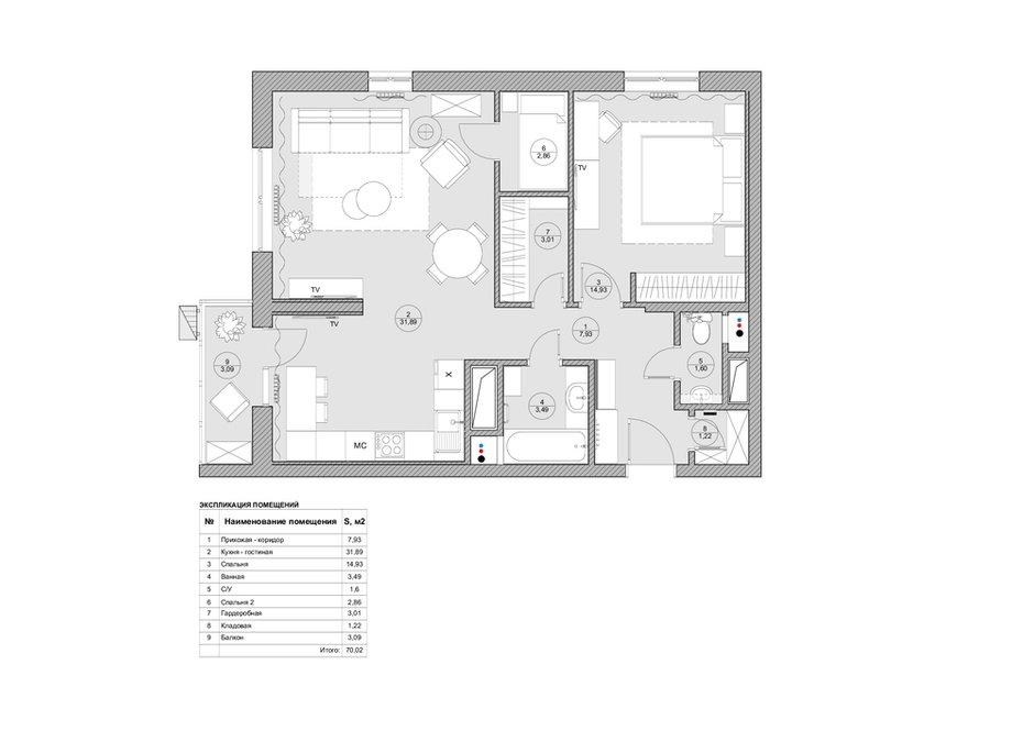 Фотография: Планировки в стиле , Квартира, Проект недели, Москва, Монолитный дом, 2 комнаты, 60-90 метров, Валерия Даньковская, ЖК «Дом на Таганке» – фото на INMYROOM