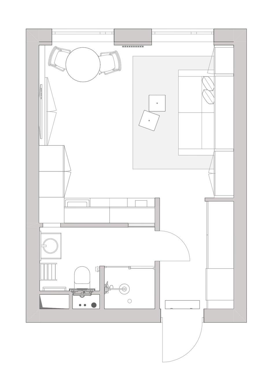 Фотография: Планировки в стиле , Малогабаритная квартира, Квартира, Студия, Минимализм, Проект недели, Москва, до 40 метров, Виталий Мясников – фото на INMYROOM