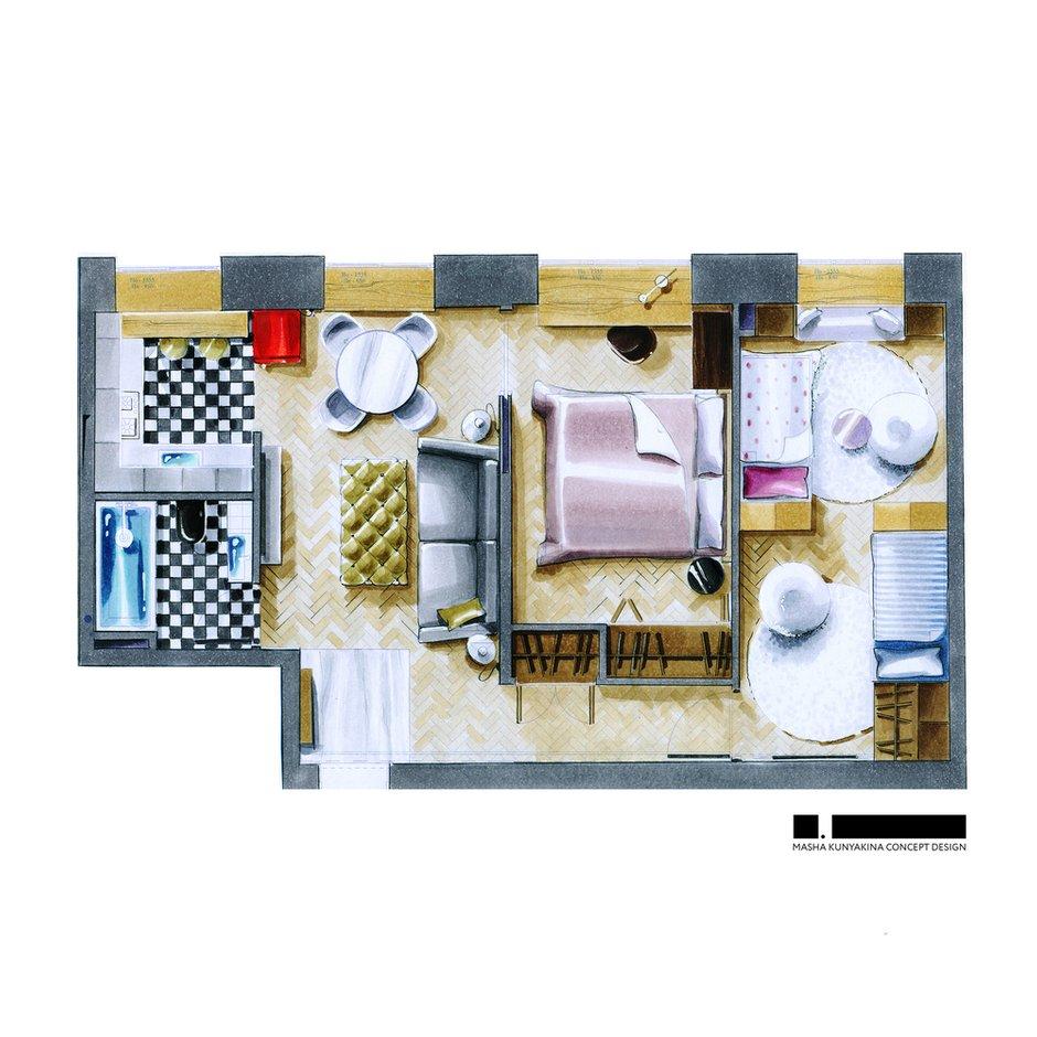 Фотография:  в стиле , Квартира, Проект недели, Москва, Кирпичный дом, 3 комнаты, 40-60 метров, Маша Кунякина – фото на INMYROOM