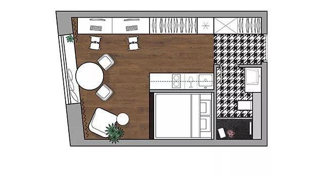 Фотография: Планировки в стиле , Современный, Малогабаритная квартира, Квартира, Студия, Минимализм, Проект недели, Москва, Яна Волкова, до 40 метров – фото на INMYROOM