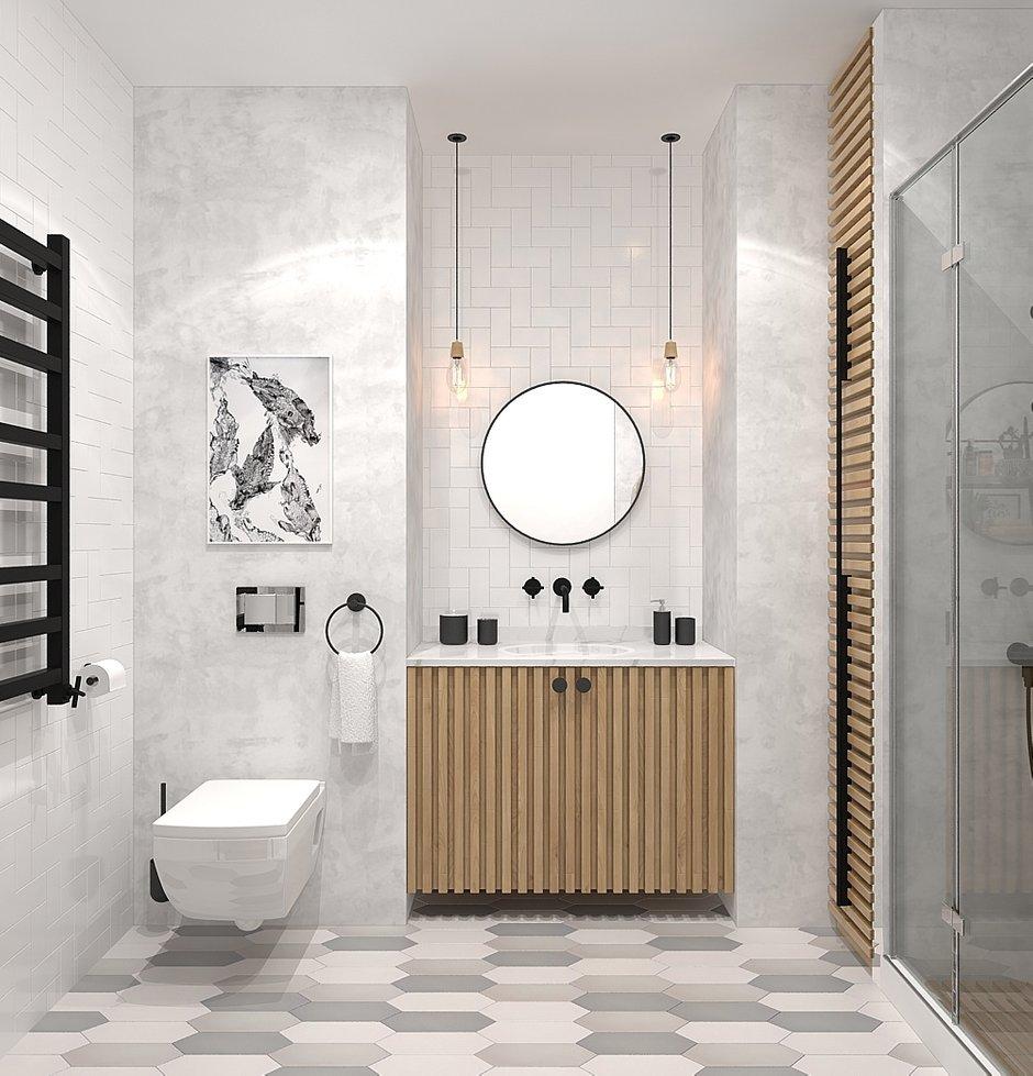 Фотография: Ванная в стиле Современный, Квартира, Проект недели, Москва, Виктория Золина, 2 комнаты, 60-90 метров, Монолитно-кирпичный – фото на INMYROOM