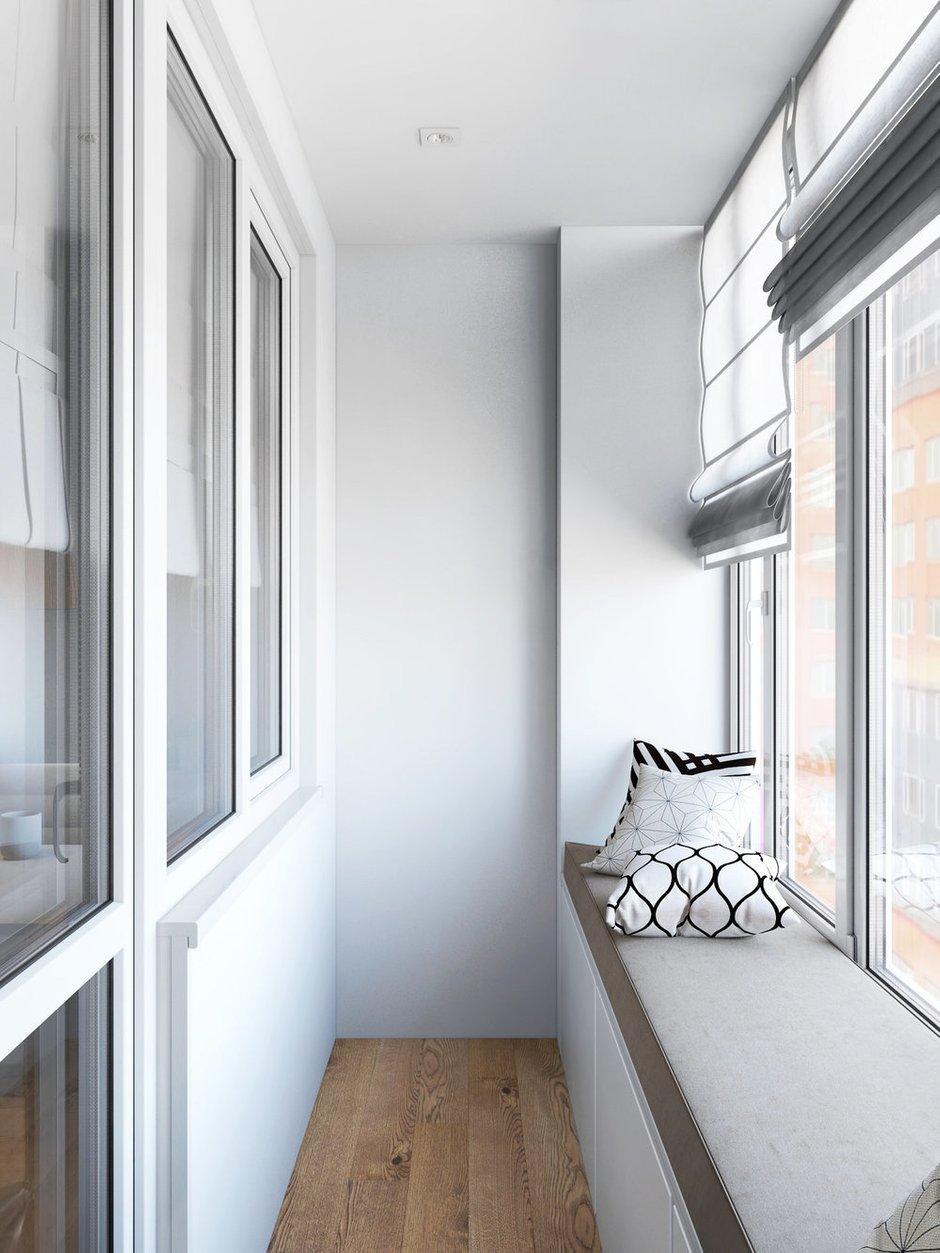 Фотография: Балкон в стиле Современный, Квартира, Проект недели, Бежевый, Серый, 2 комнаты, 40-60 метров, Олеся Березовская – фото на INMYROOM