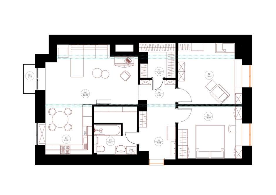 Фотография: Планировки в стиле , Квартира, Проект недели, Москва, Сталинка, Алена Юдина, 3 комнаты, 60-90 метров – фото на INMYROOM