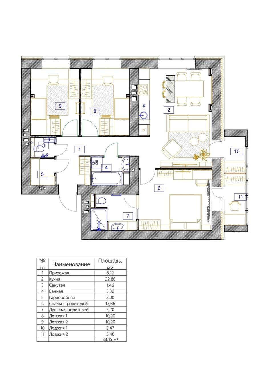 Фотография: Планировки в стиле , Современный, Эклектика, Квартира, Проект недели, Монолитный дом, 3 комнаты, 60-90 метров, Светлана Удзилаури, Брянск – фото на INMYROOM