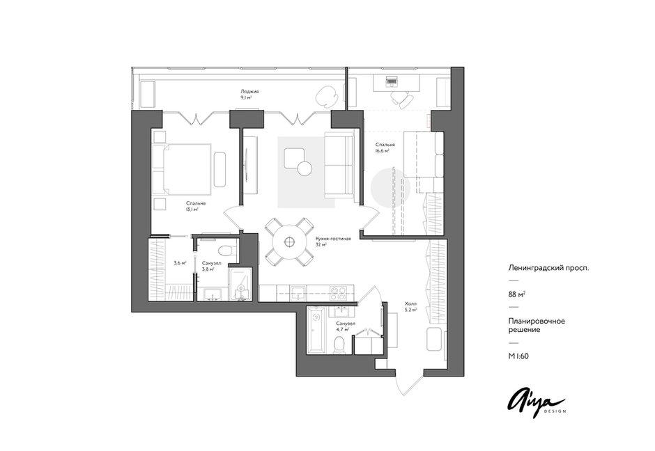 Фотография: Планировки в стиле , Современный, Квартира, Проект недели, Москва, 3 комнаты, 60-90 метров, Aiya Design – фото на INMYROOM