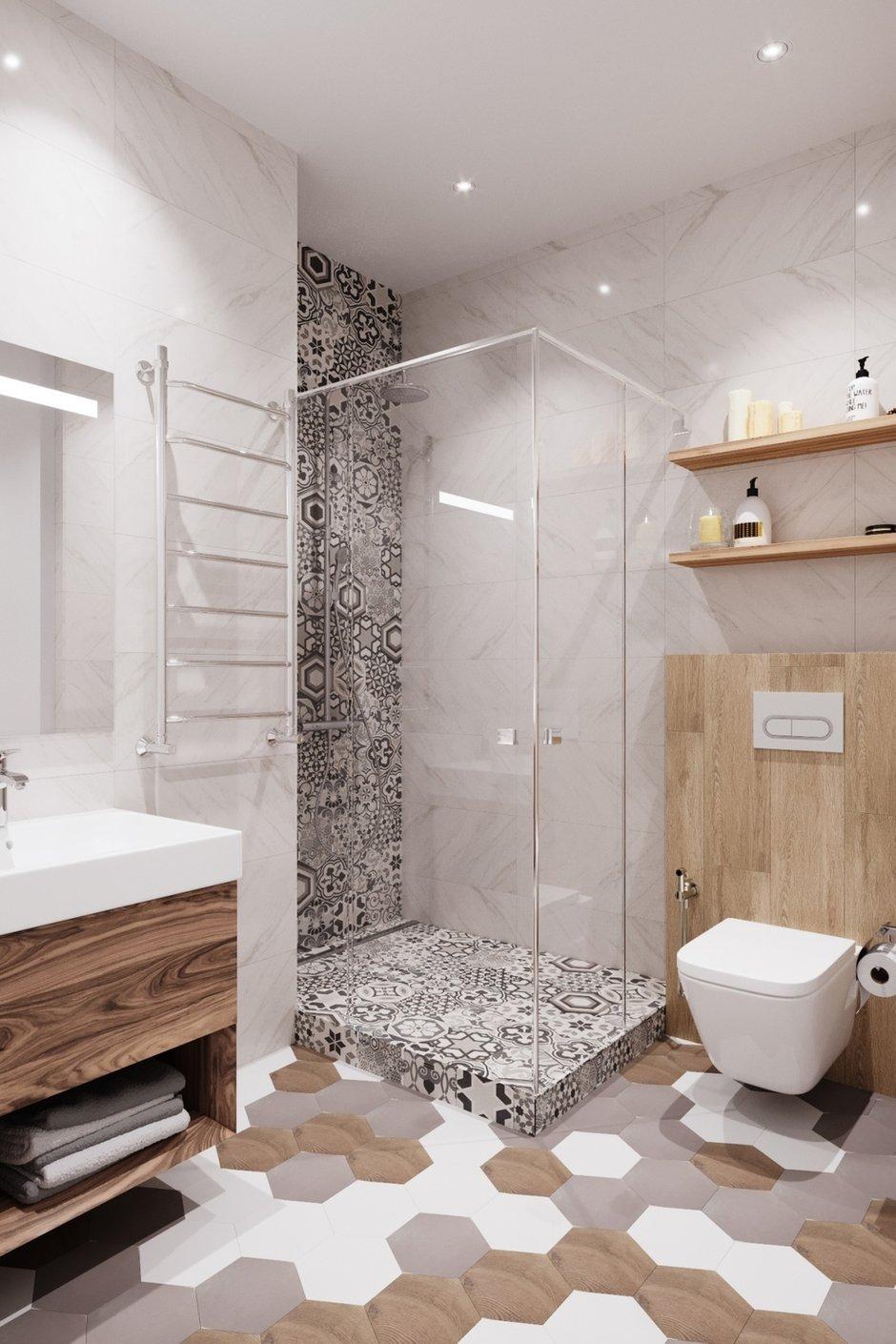 Фотография: Ванная в стиле Современный, Квартира, Проект недели, Москва, Дарья Ельникова, Монолитный дом, 3 комнаты, 60-90 метров – фото на INMYROOM