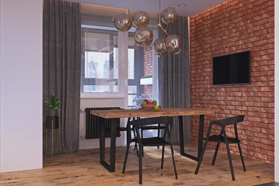 Фотография: Кухня и столовая в стиле Лофт, Квартира, Проект недели, Одинцово, Geometrium, Московская область, Монолитный дом, 2 комнаты, 60-90 метров – фото на INMYROOM
