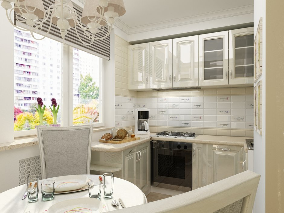 Фотография: Кухня и столовая в стиле Прованс и Кантри, Малогабаритная квартира, Квартира, Дома и квартиры, Проект недели, Москва – фото на INMYROOM