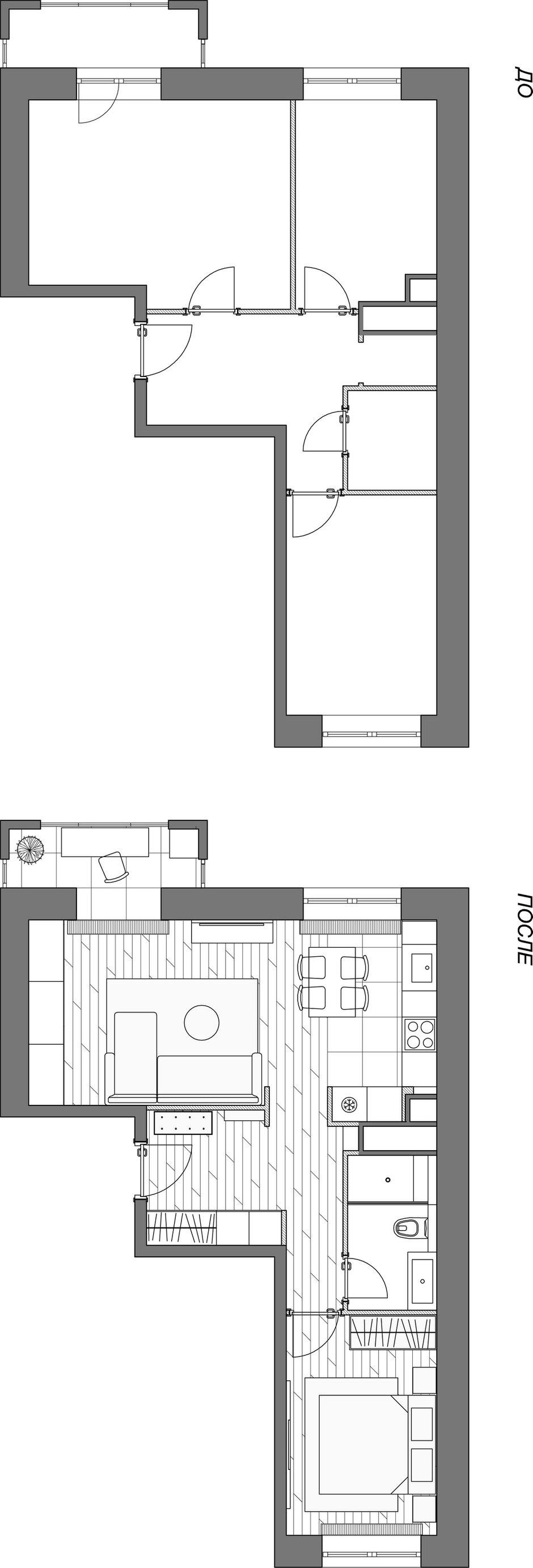 Фотография: Планировки в стиле , Квартира, Проект недели, Москва, 2 комнаты, 40-60 метров, Ксения Коновалова, ЖК «Опалиха О3» – фото на INMYROOM