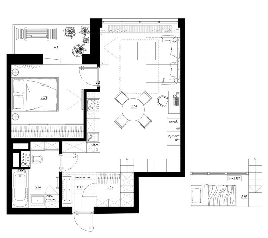 Фотография: Планировки в стиле , Квартира, Перепланировка, Санкт-Петербург, Никита Зуб, 1 комната, 40-60 метров, планировочная среда – фото на INMYROOM