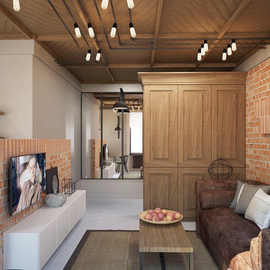 Фотография: Гостиная в стиле Лофт, Квартира, Планировки, Проект недели, Сталинка – фото на INMYROOM