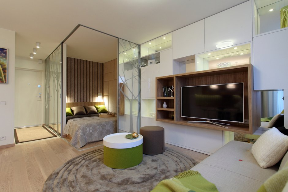 Фотография: Гостиная в стиле Современный, Малогабаритная квартира, Квартира, Дома и квартиры, Проект недели – фото на INMYROOM