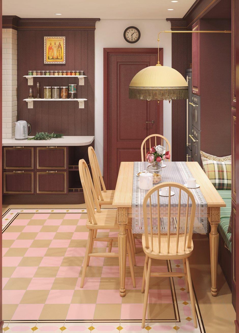 Фотография:  в стиле , Кухня и столовая, Классический, Белый, Проект недели, Красный, Little Greene, как оформить балкон, Smeg, как оформить интерьер в классическом стиле, как оформить интерьер кухни, Vives ceramica, Самара, Nika d'Oro, Маша Яшина, DifferentRooms, дизайн кухни, цвет марсала, как присоединить балкон к кухне, кухня в русском стиле – фото на InMyRoom.ru