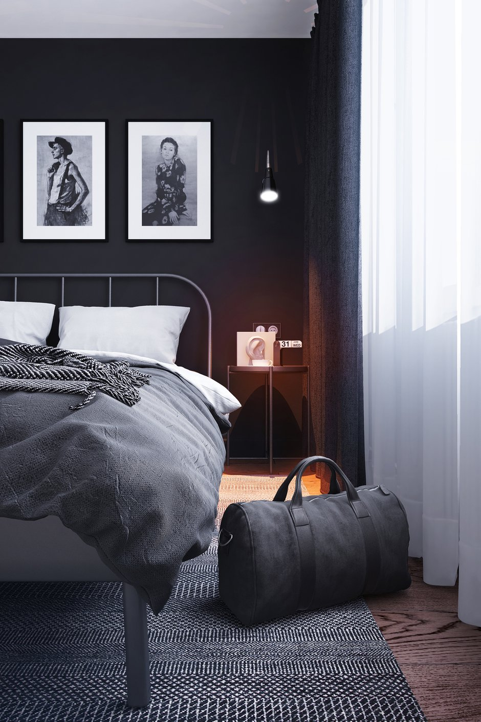 Фотография: Спальня в стиле Современный, Скандинавский, Малогабаритная квартира, Квартира, Проект недели, Санкт-Петербург, Панельный дом, 2 комнаты, 40-60 метров, Bobo.space – фото на INMYROOM