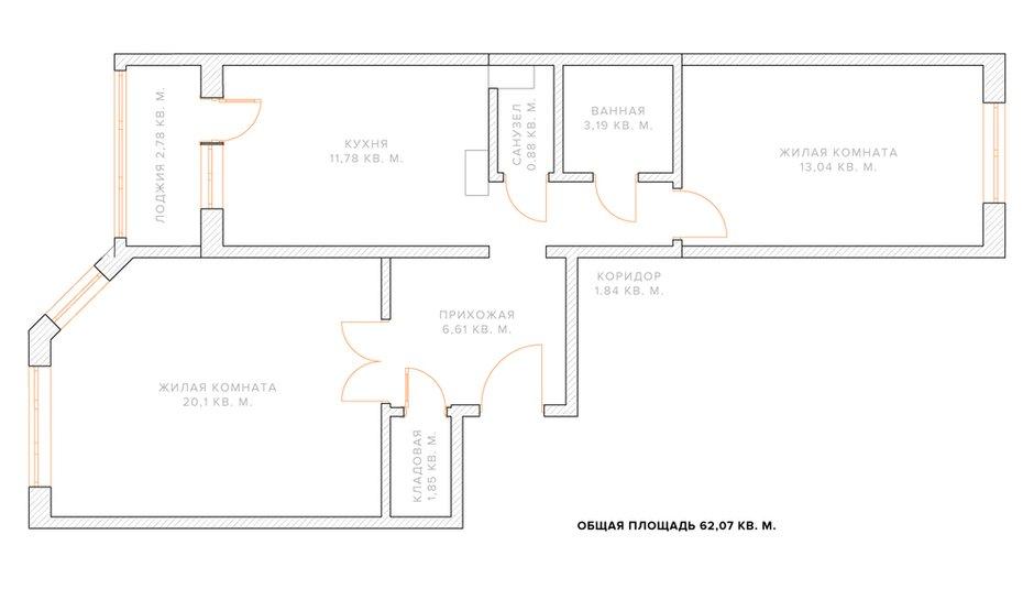Фотография: Гостиная в стиле Лофт, Квартира, Планировки, Перепланировка, ИП-46с, дом серии ИП-46с, двухкомнатная квартира в ИП-46с, перепланировка двушки в ИП-46с, перепланировка двухкомнатной квартиры в ИП-46с, варианты перепланировки двухкомнатной квартиры, как обустроить двушку для пары, как обустроить двухкомнатную квартиру для пары с детьми, идеи перепланировки, перепланировка в ИП-46с – фото на INMYROOM