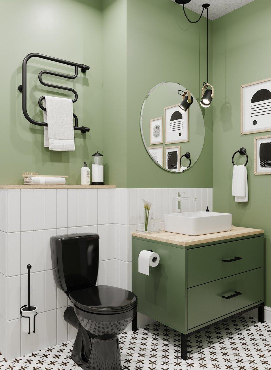Фотография: Ванная в стиле Скандинавский, Кухня и столовая, Спальня, Квартира, Проект недели, Зеленый, Желтый, Серый, 1 комната, до 40 метров, ПРЕМИЯ INMYROOM – фото на INMYROOM